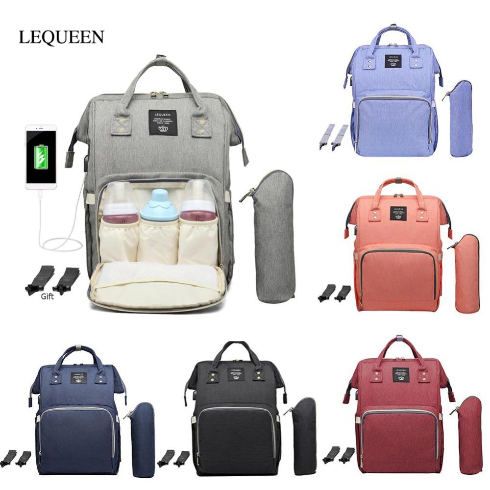Pañal interfaz LEQUEEN bolsas para pañales Pañales esfínteres USB capacidad grande del bolso impermeable de la moda mamá Travel Shop maternidad Nursî