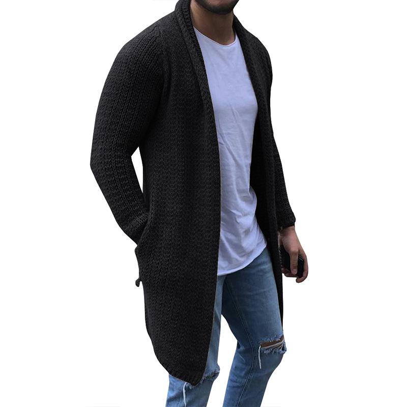 HEFLASHOR Cardigan Herren Langarm-Midi-Strickjacke-Mantel mit Taschen-Winter-Herbst-beiläufig Solid Color Long Cardigan Pull Homme Herren Pullover Me