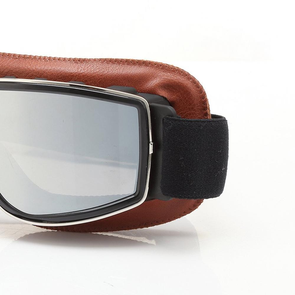 Vetro in pelle Retro Outdoor OffRoad protettivo Gear Vintage Winfproof occhiali da moto in pelle Vintage Winfproof occhiali da moto