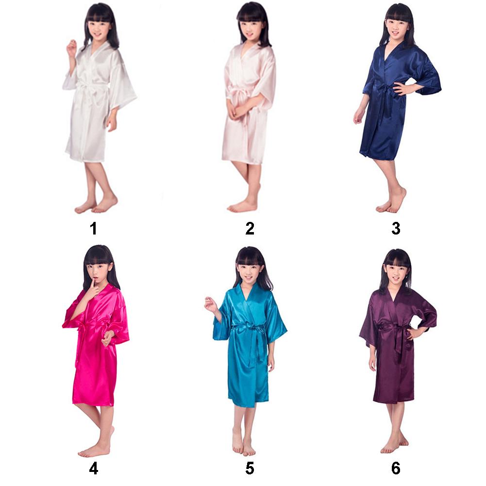 New Arrive Baby Girls Kid Silk Satin Kimono Pajamas Baby & Kids Clothing Robes Bathrobe Sleepwear Wedding Flower Girl Night Dress