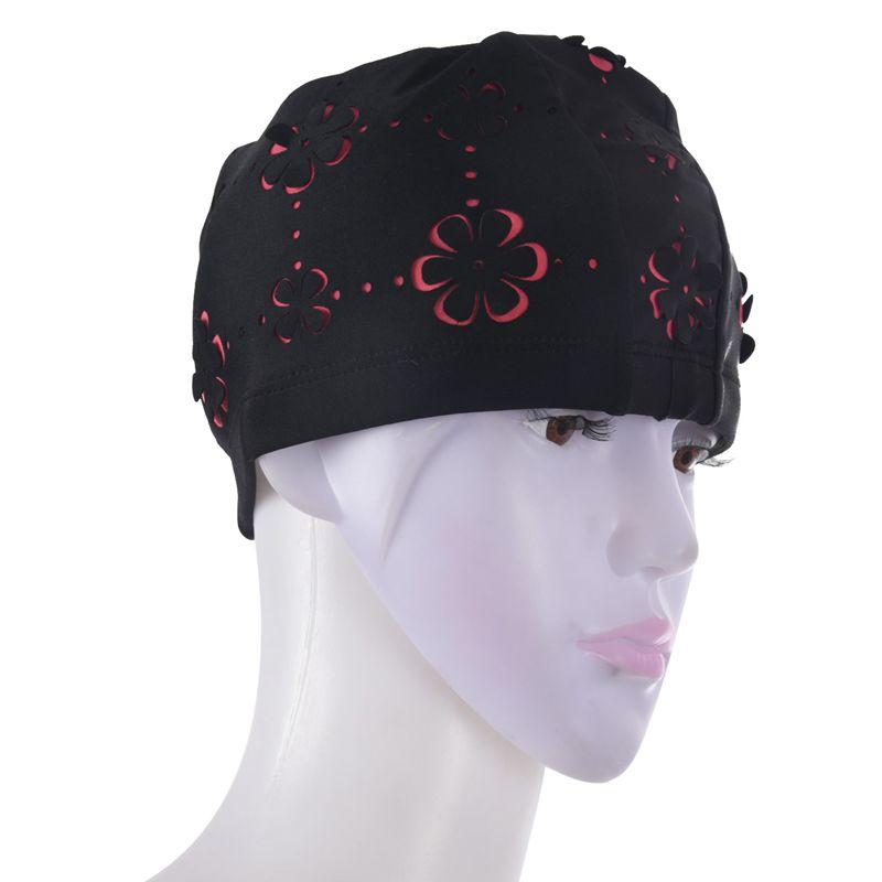 Les nouvelles femmes Rétro été Cap Fleur Eau Florale Sport Creux Bathing Black Hat New Femmes Rétro été Bonnet Fleur Floral Piscine