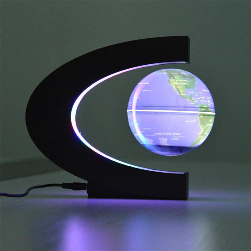 Novelty C Shape LED World Map Floating Globe Magnetic Levitation Light Antigravity Magic/Novel Lamp Birthday Home Dec Night lamp