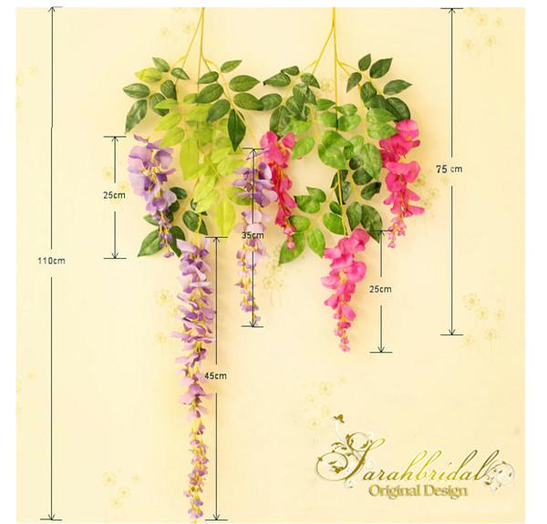 Beautiful Artificial Flowers Simulation Wisteria Vine Wedding Decorations Long Short Plant Bouquet Room Office Garden Bridal Accessories
