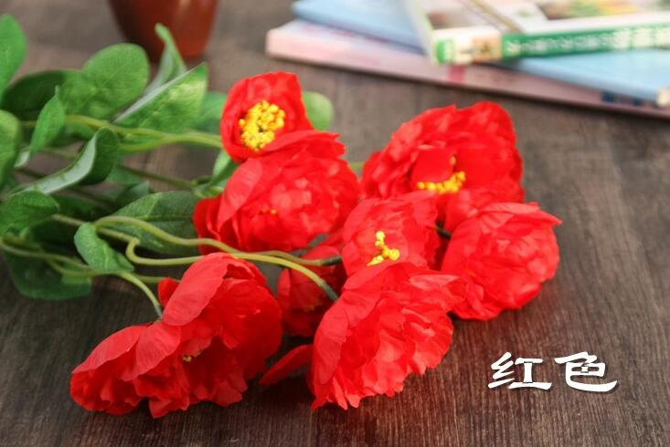 Poppy Artificial Flower Somnus Factory Latex Faux Flowers Home Decorative poppy flower brouch wedding party decoration SF022