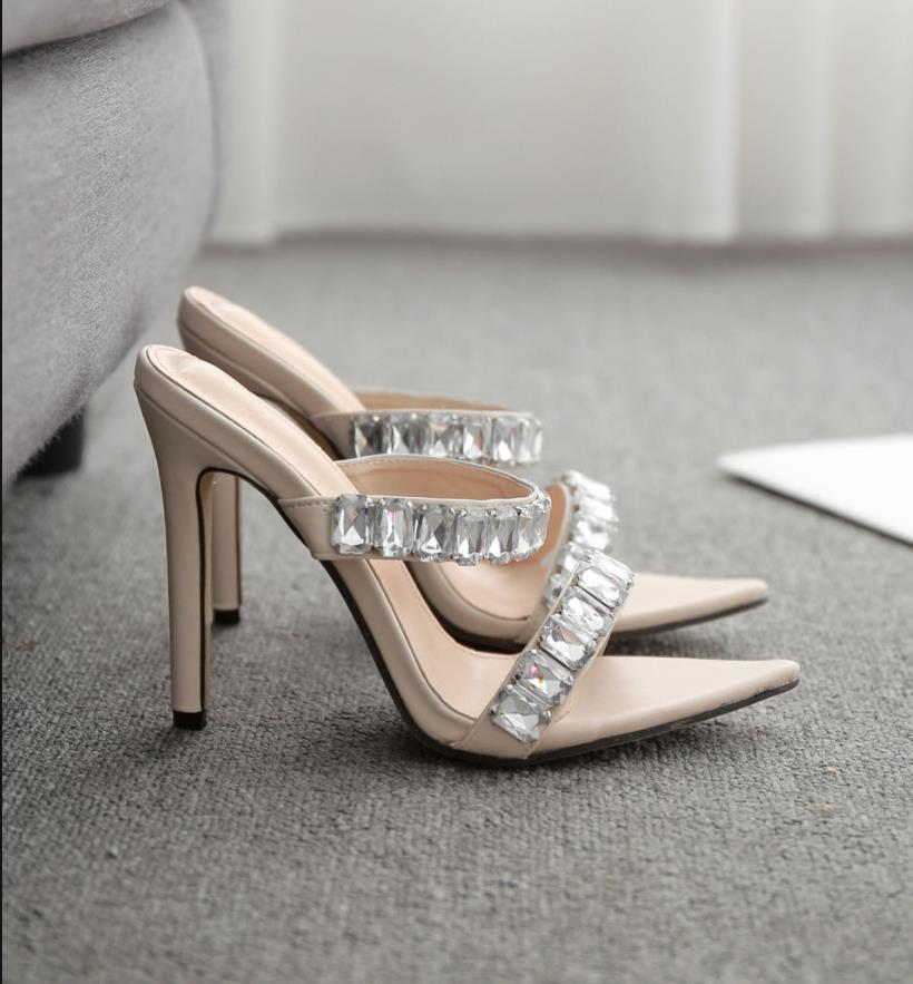 size 35 to 42 ivory rhinestone sandals stiletto heels women sandalias pointed high heel mules nude heels