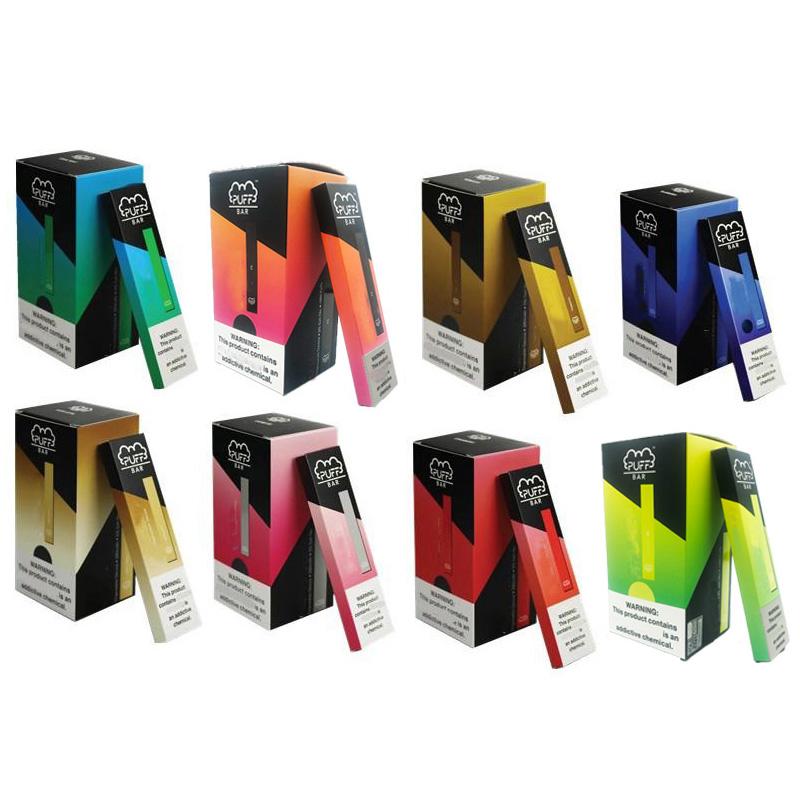 Newest Puff Bar Disposable Vape Pens Capacity 1.3ml Vape Cartridges Puff 280mah Battery Non-Rechargeable Kit Vapes display box