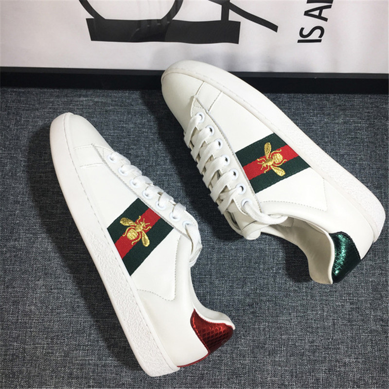 2020 Luxury designer GG Casual Shoes Ace Embroidery Bee Tiger Snake Flat Sneaker Sports Trainers Genuine Leather men women Shoes