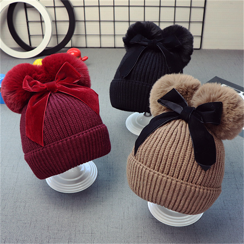 9styles Cute Double Fur Ball Bow Hats Baby Pom Pom Beanie Cap Toddler Kids Baby Girls Winter Warm Crochet Knitted Party Hat Caps