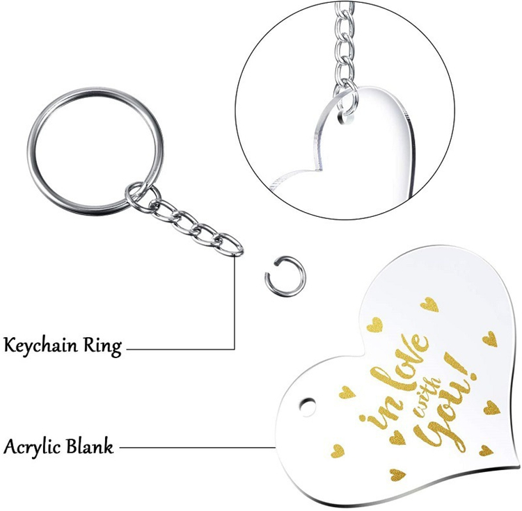 Acrylic Keychain Blank Heart Shaped Monogrammed Clear Discs Circles With Metal Split Key Chain Keyrings DIY Valentine`s Day Gifts Decor