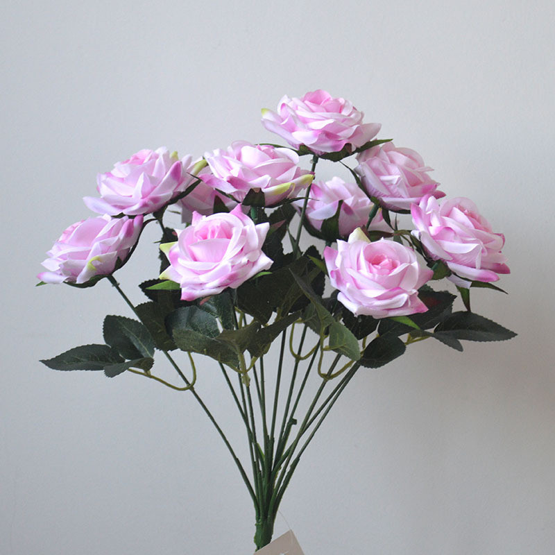 12 Heads Artificial Rose Flowers Bouquet Silk Roses for Home Bridal Wedding Party Festival Decor Champagne and Pink