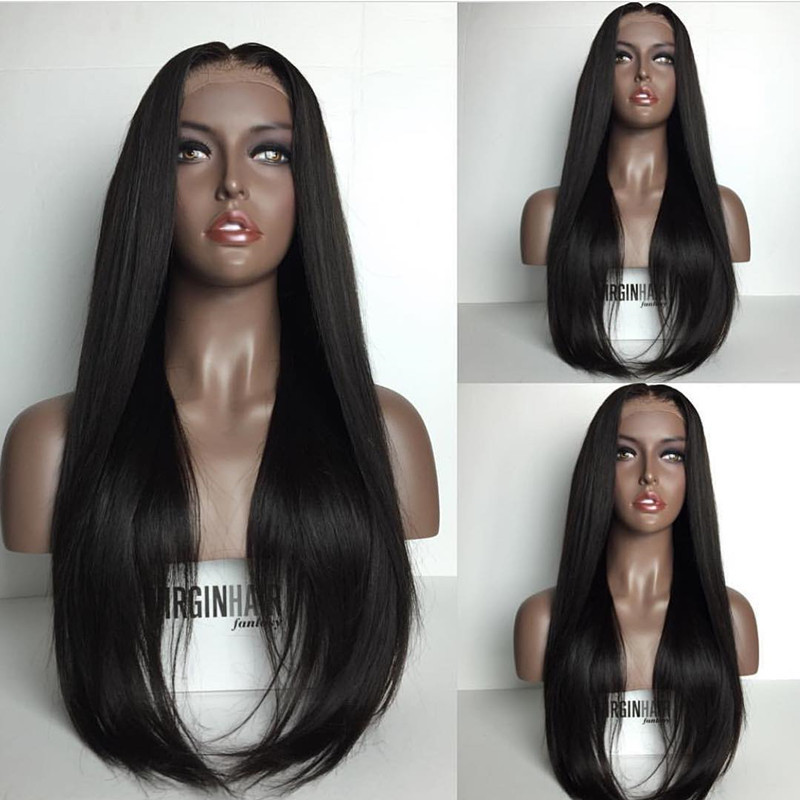 Long Natural Looking Silky Straight Hair Heat Resistant Japan Fiber Black Color Hair Glueless Semi Soft Synthetic Lace Front Wig Black Women