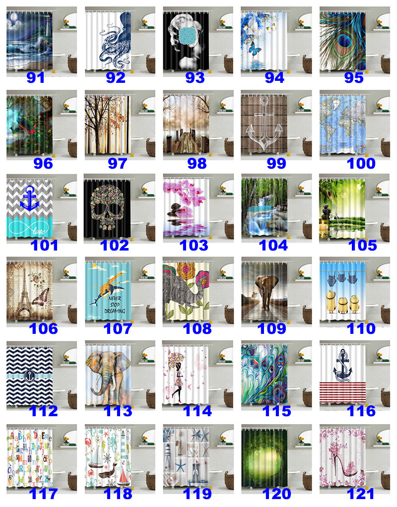 180*180cm Christmas Shower Curtains 3D Printing Tree Beach Shell Waterproof Bathroom Shower Curtain Decoration With Hooks WX9-143