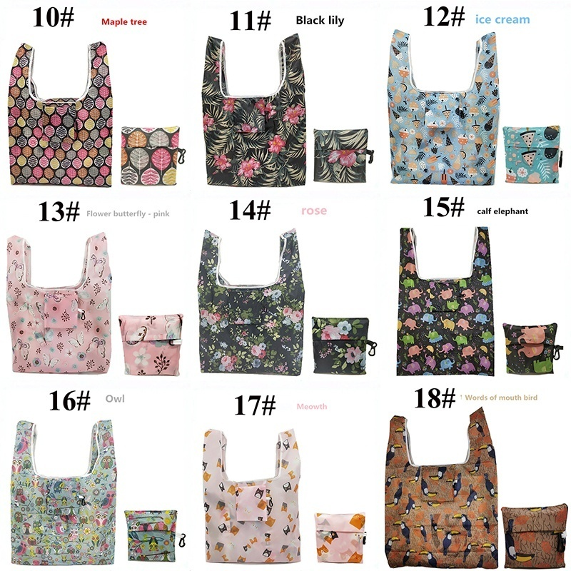 Multi function Shopping Tote Bags Strawberry Foldable Organizer Beautiful Reusable Fruit Vegetable Bag 18 styles