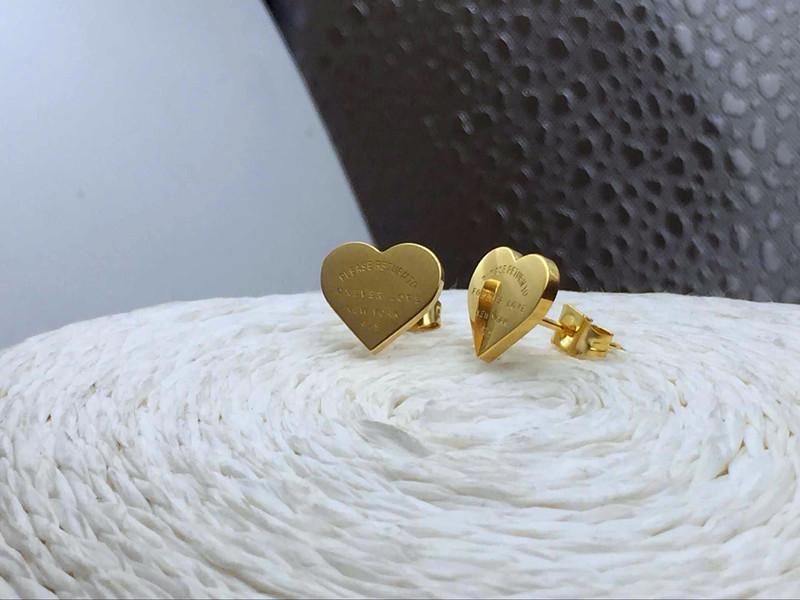 Hot sell forever love earrings 316L Stainless Steel love stud earrings heart sharpe earrings for women men Couples fine jewlery wholesale