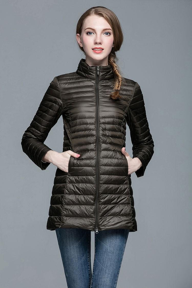 Designer Fall Winter 90% White Duck Down Long Jacket Female Overcoat Ultra Light Slim Solid Jackets Winter Coat Portable Parka S-4XL