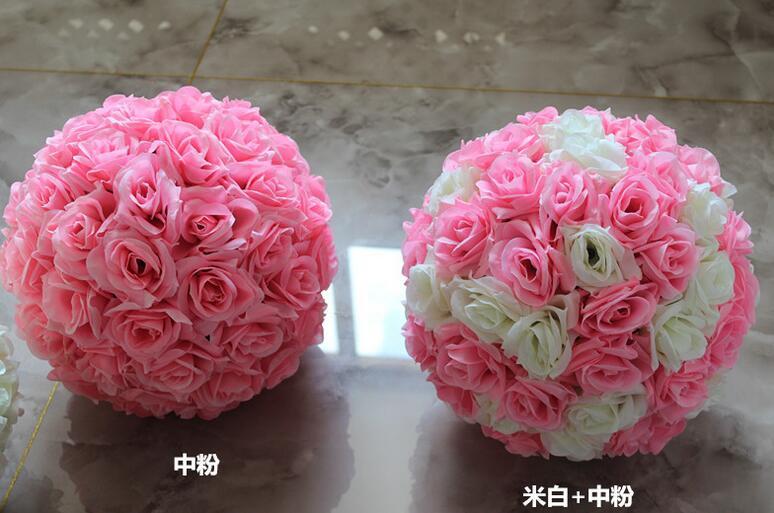 15 Inch Wedding silk Pomander Kissing Ball flower ball decorate flower artificial flower for wedding garden market decoration