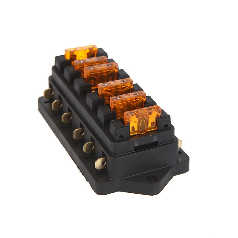 NEW Universal Car Truck Vehicle 6 Way Circuit Automotive Middle-sized Blade Fuse Box Block Holder