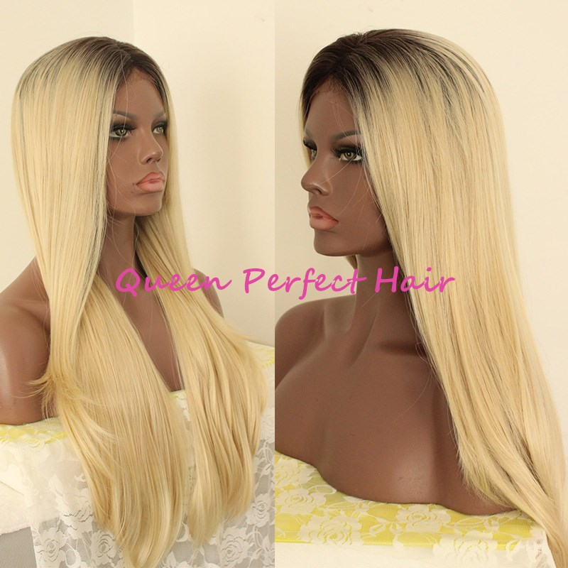 Two tone ombre wig black root blonde hair long silky straight heat resistant wig glueless hair synthetic lace front wig for black women
