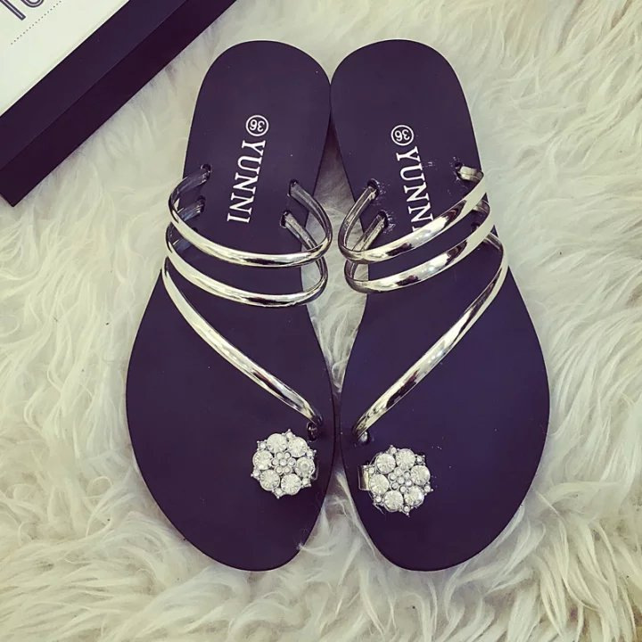 Summer new flower flat rubber thong sandals and slippers sandals girls sandals student shoes
