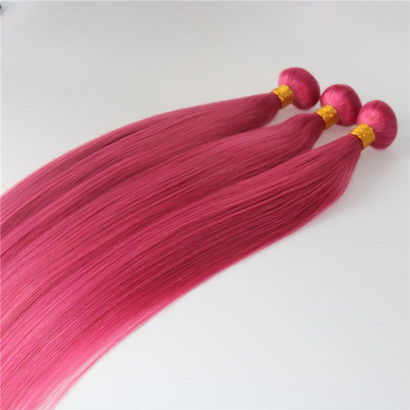 Human Hair Extensions Hot Pink Fuchsia Human Hair Weaves Brazilian Straight Virgin Hair 100gram/piece Best Quality