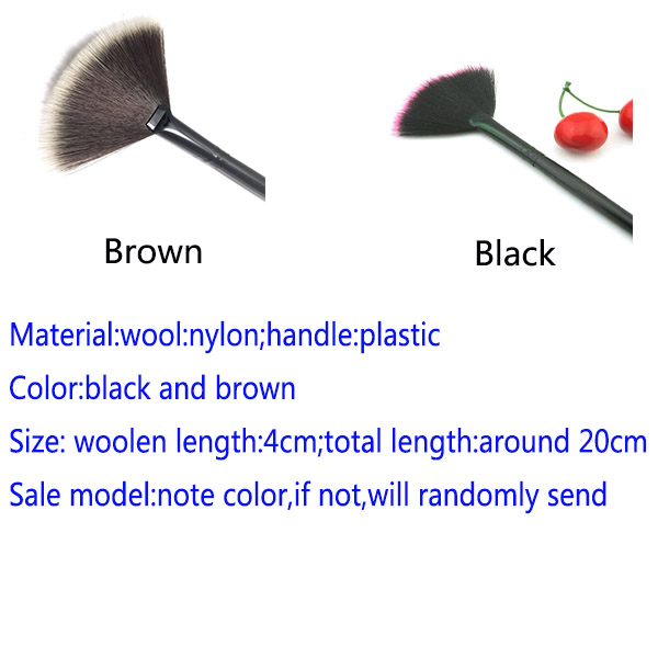 Black And Brown New Pro Fan Shape Makeup Cosmetic Brushes Blending Highlighter Contour Face Powder Beauty Tools HH-B06