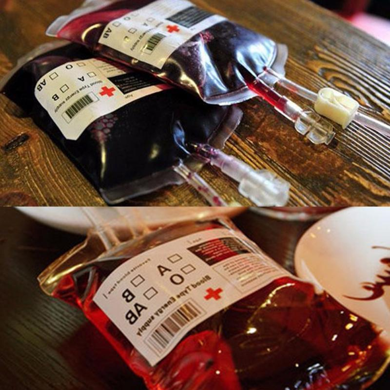 Halloween cosplay Blood Bag Juice Energy Drink Bag Halloween event Party supplies Pouch Props Vampires Reusable Package Bags