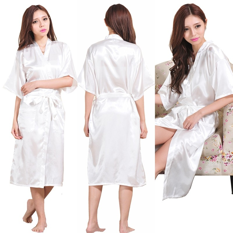 Sexy Kimono Robes Night Robe Bathrobe Perfect Wedding Bride Bridesmaid Robes Dressing Gown For Women Large Size LC484