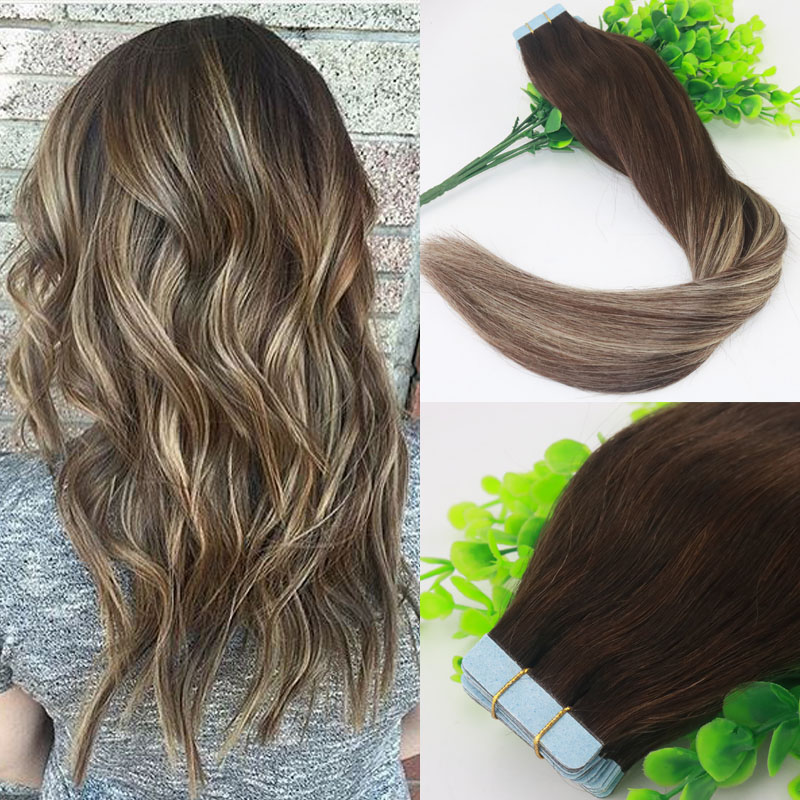 Colored #3#24 Blonde Highlight Ombre Balayage Brazilian Virgin Hair Extensions Tape in Human Hair Extensions Skin Weft Seamless