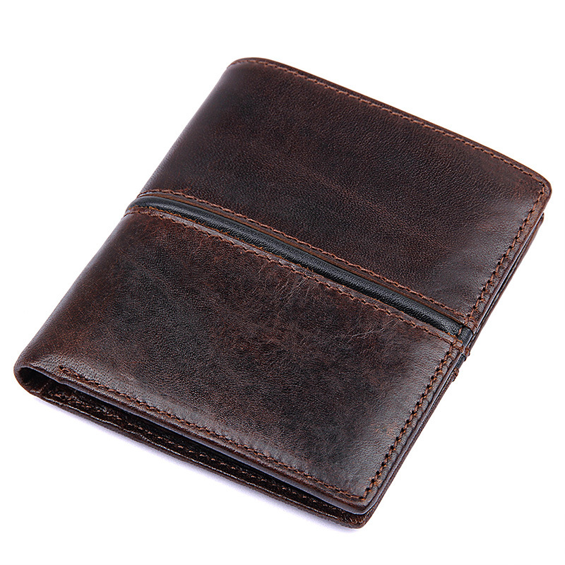 Really cowhide male high-end design true package to do the old retro 2017 new wallet foreign trade oil wax short leather wallet