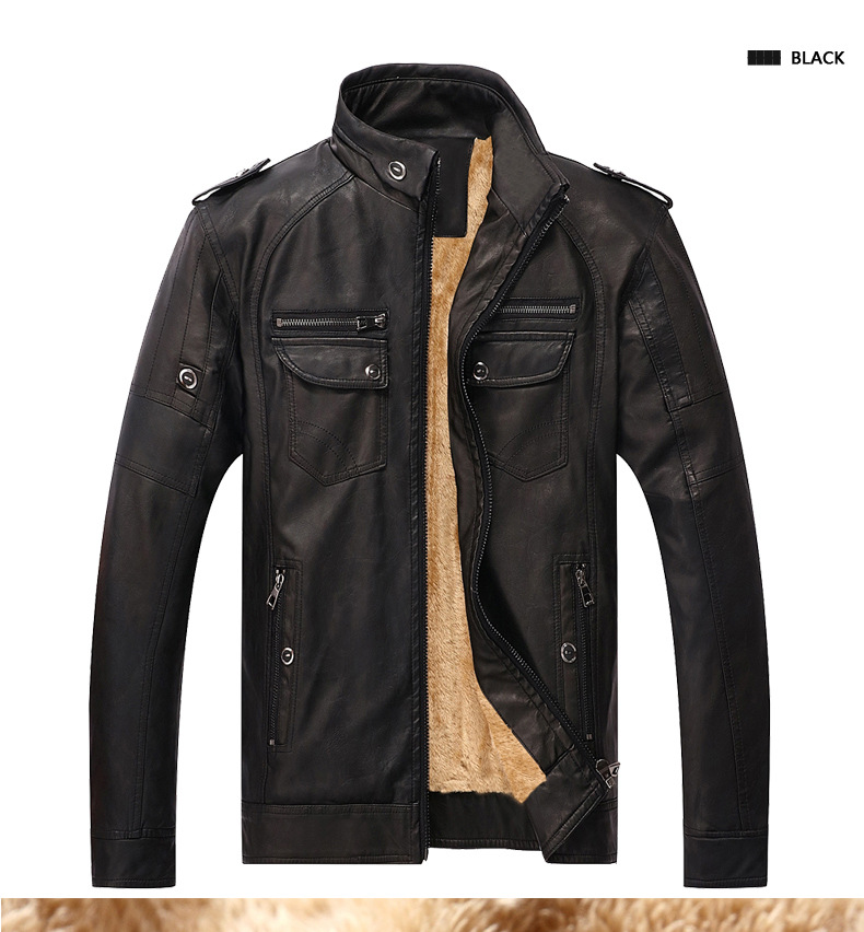 Brand Designer Men Leather Jacket Coat Fashion Stand Collar Slim Fit Thick Fleece Men Jackets For Autumn Winter