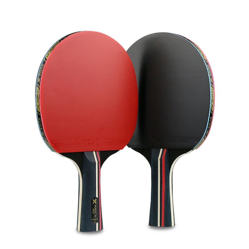Table Tennis Rackets Set 7 Ply Wood Blade Double Face Pimples-in Rubber for Children Teenagers New Learners Training with Bag