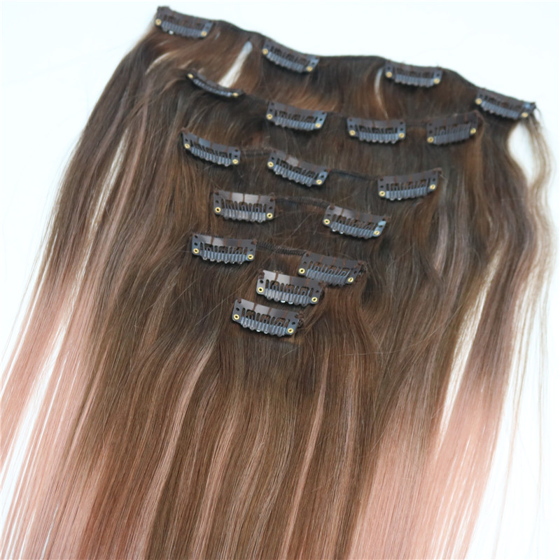120g Full Head Clip In Human Hair Extensions Ombre Pink Brown Tips #3 Rose Gold Balayage Hair Extensions Highlights