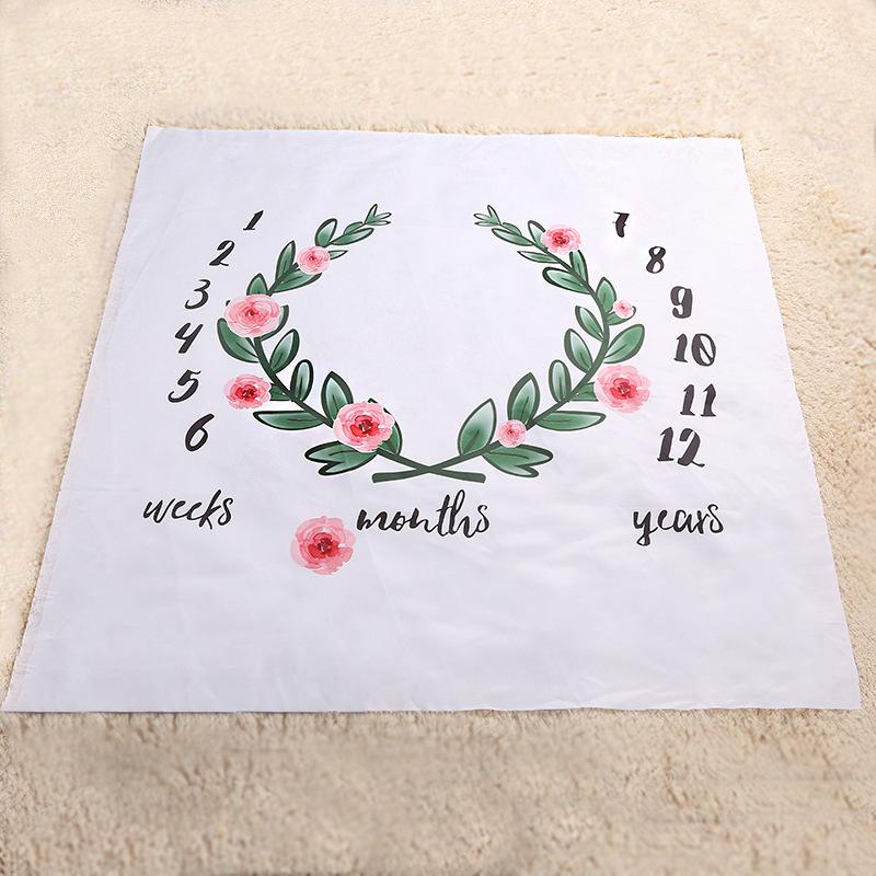 INS Kids Blankets cotton photo prop Blankets infant Swaddling Letter flower digital baby bed sheet Sleeping Bag 100*100cm 16 styles C2372
