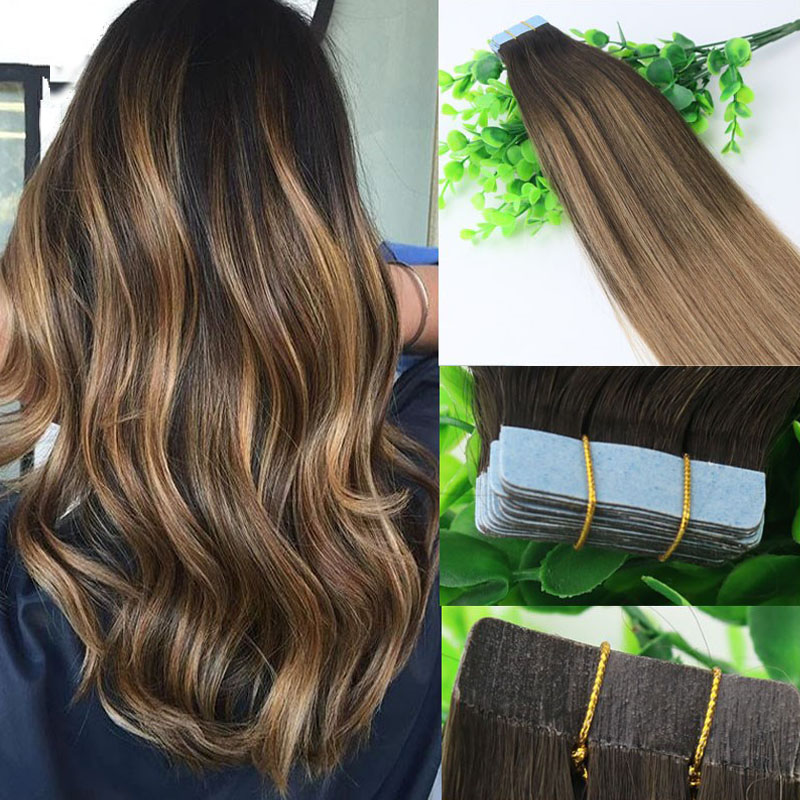 Ombre Hair Extensions Glueless 2# 6#Tape In Human Hair Extensions 10gram Brazilian Virgin Hair Balayage Dark Brown Highlight Skin Weft
