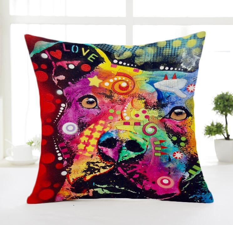Halloween Christmas American Cartoon Dog Printed Pillowcase Creative Hand Painted Cushion Decorative Pillow Cushion Throw Pillow case