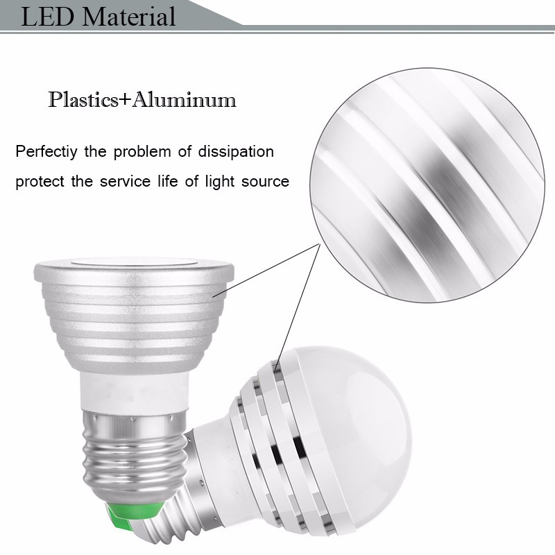 LED Lamp RGB RGBW 3W E27 E14 GU10 MR16 Spotlight Bulb Silver Brightness Adjustable Bombillas with IR Remote Controller Changeable