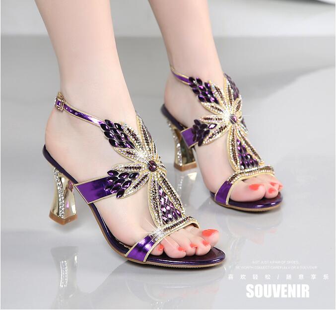 New Rhinestone Sandals Crystal High Heel Shoes Wedding Shoes Black Silver Gold Strappy Heels Sandales Femme 8cm NXX3