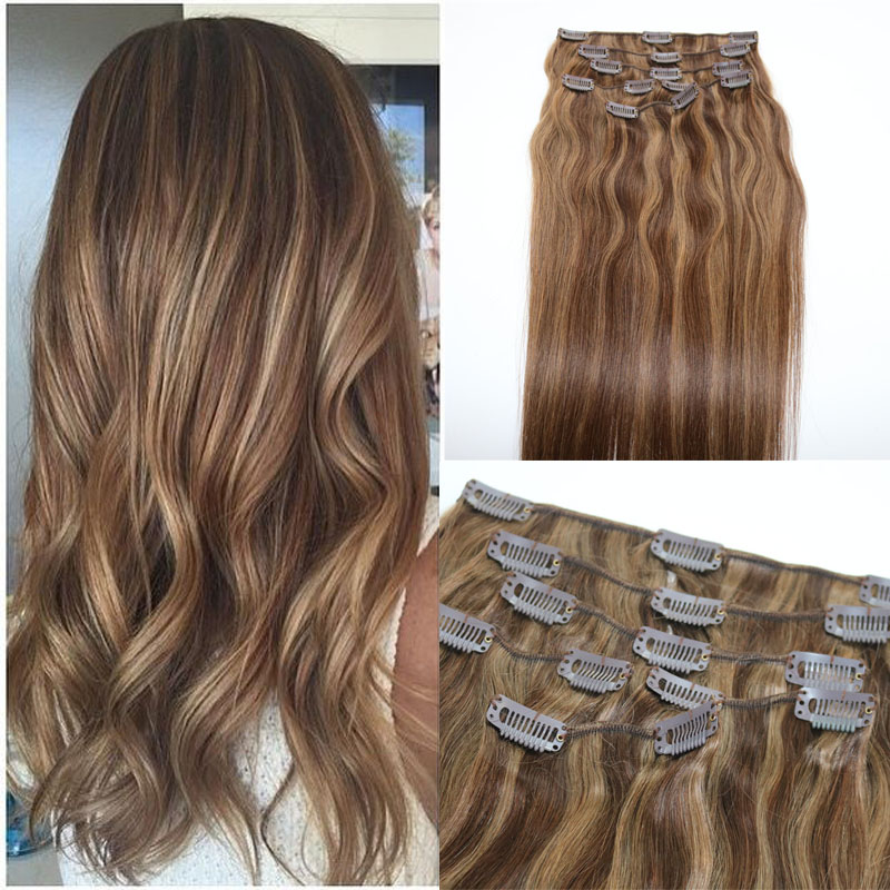 Human Hair Extensions Ombre Color Two Tone #4 Brown Piano #8 Clip In Human Hair Extensions Highlights