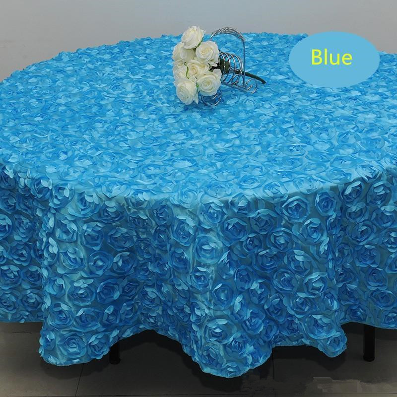 Blush Pink 3D Rose Flowers Table Cloth for Wedding Party Decorations Cake Tablecloth Round/Rectangle Table Decor Runner Skirts Carpet Cheap