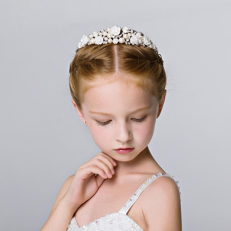 Exquisite Manual Flower Girls Head Pieces Kids` Accessories For Weddings Girls Tiaras Formal Wear