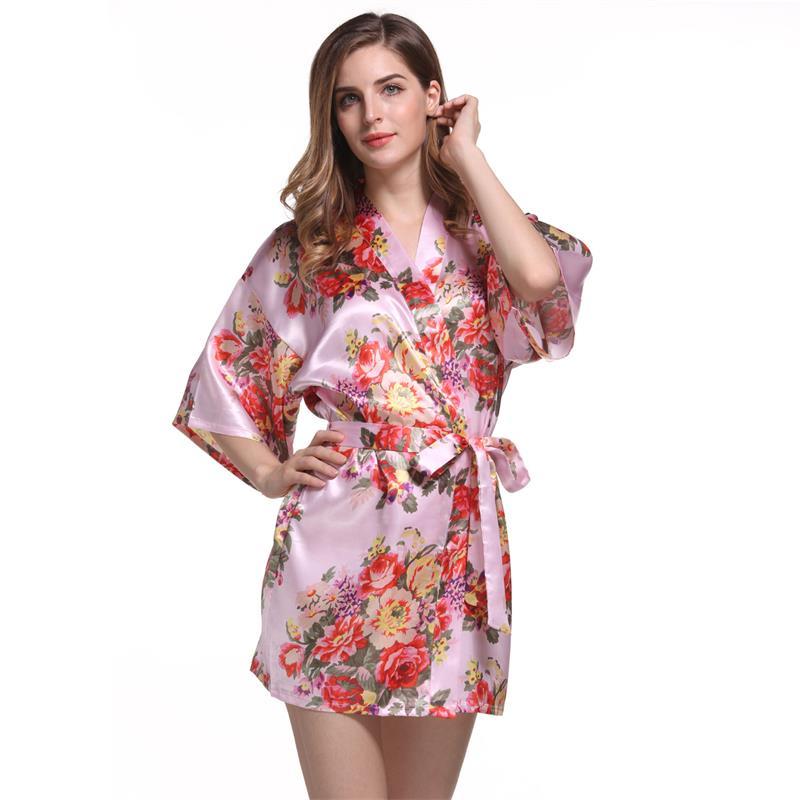 Satin Wedding Bride Bridesmaid Robe Floral Bathrobe Flower Print Kimono Robe Dressing Night Gown For Women
