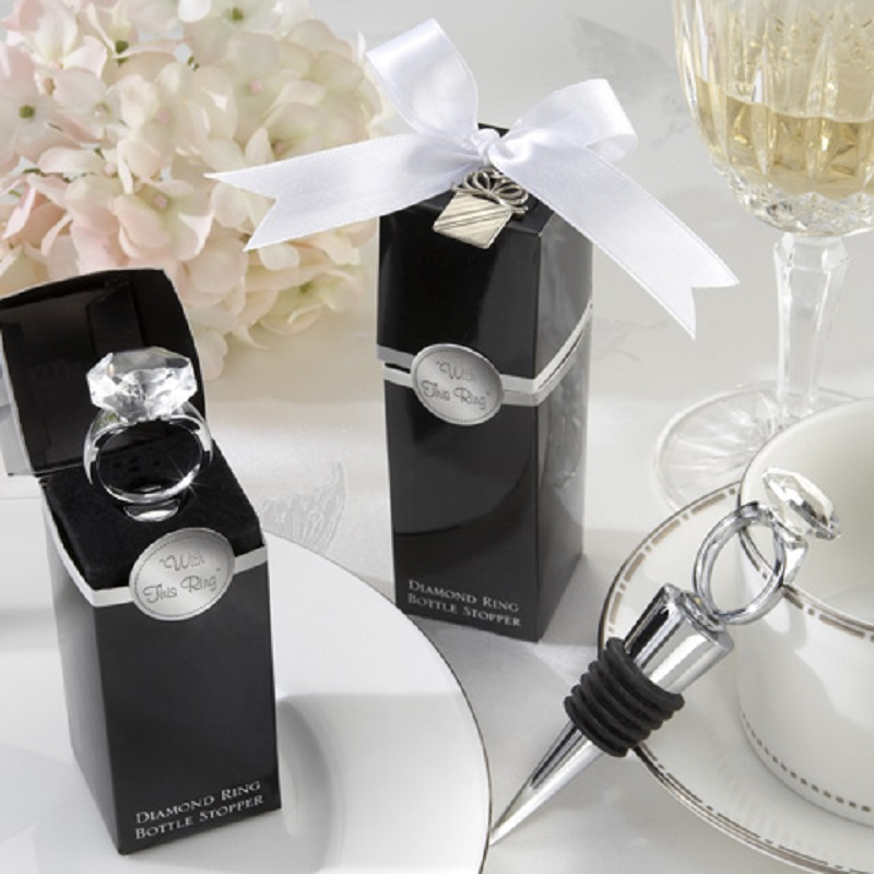 Wedding Favors Gifts Crystal Diamond Ring Wine Bottle Stopper For Birthday Bridal Baby Shower Wedding Party WA2032