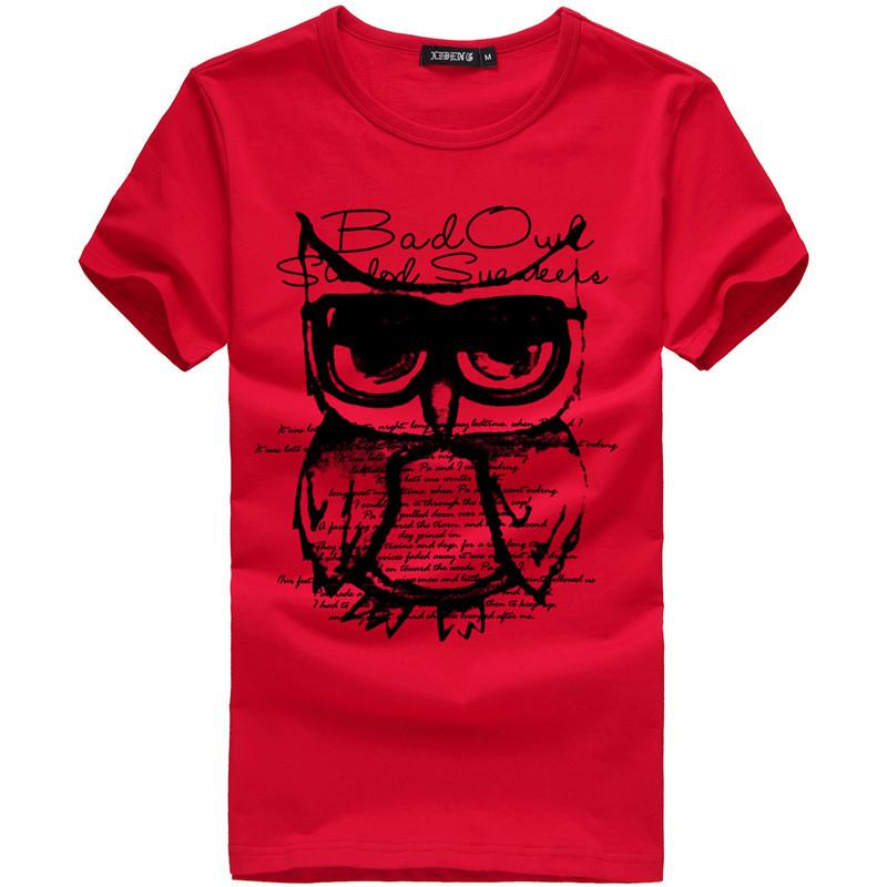 Summer New Men T-shirt Printed Casual Cotton T-shirt Slim Male Short sleeve T-shirt White Plus Size M-3XL
