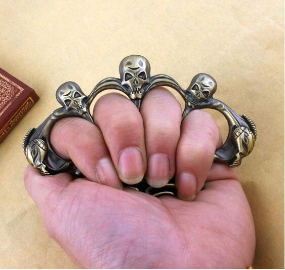 NEW SkULL Brass Knuckles Holy Spiritus Mundus Named Iron Dusters fist Window Breaker Finger Ring