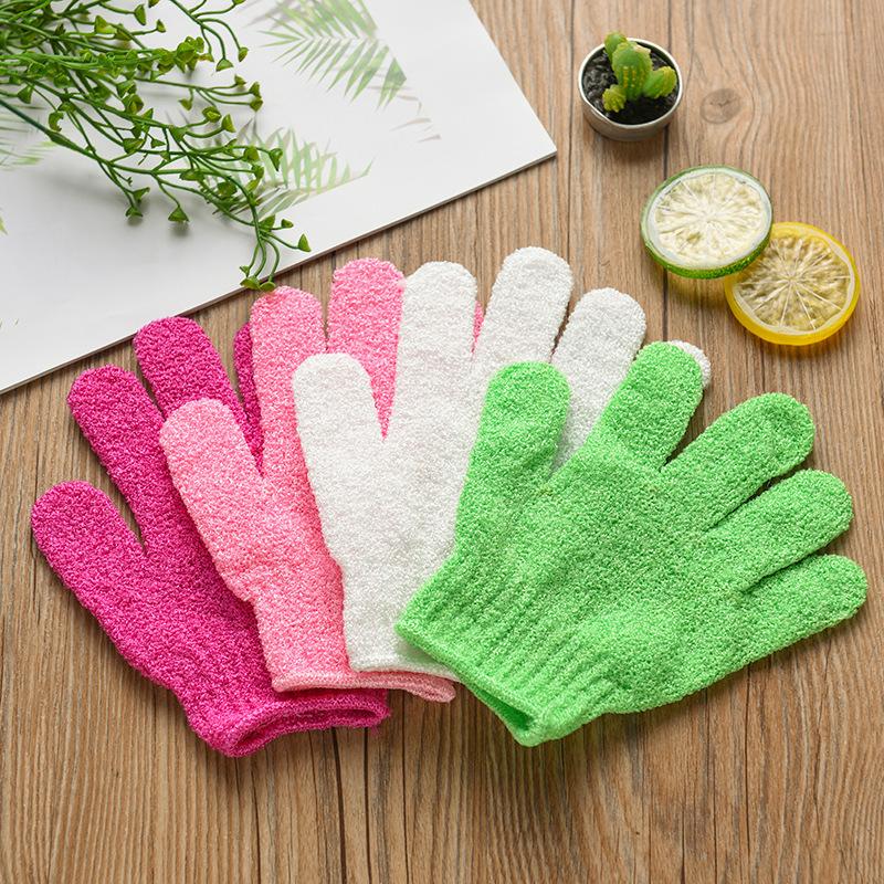 New Exfoliating Bath Glove Five Fingers Bath Bathroom Accessories Nylon Bath Gloves Bathing Supplies Free DHL WX9-435