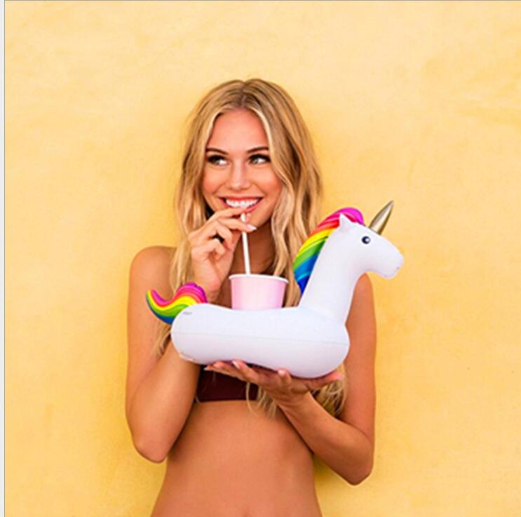 inflatable floating bed wholesale unicorn cup holder drink party beverage boats phone stand swim pool floating tubes toys