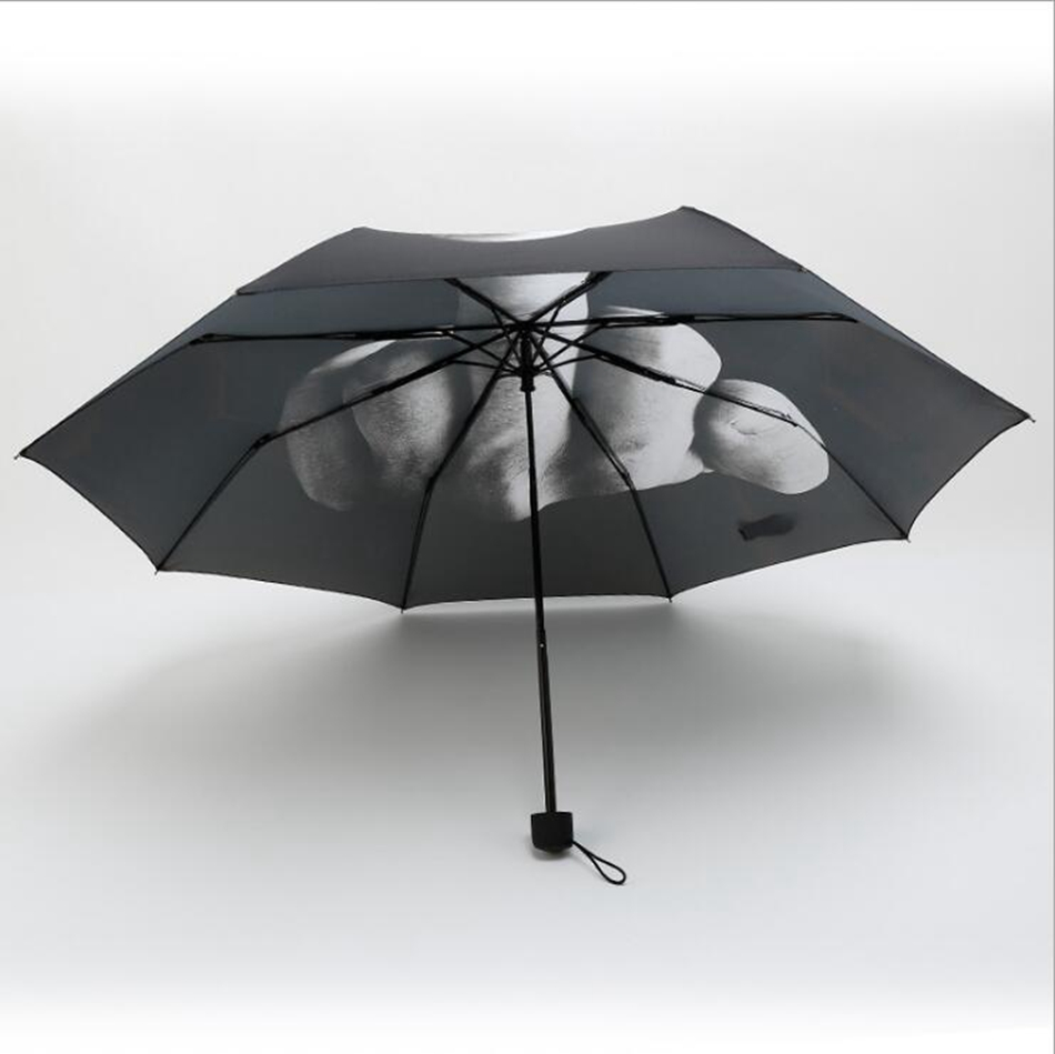 Middle Finger Umbrella Rain Windproof Up Yours Umbrella Creative Folding Parasol Fashion Impact Black Umbrella OOA4505