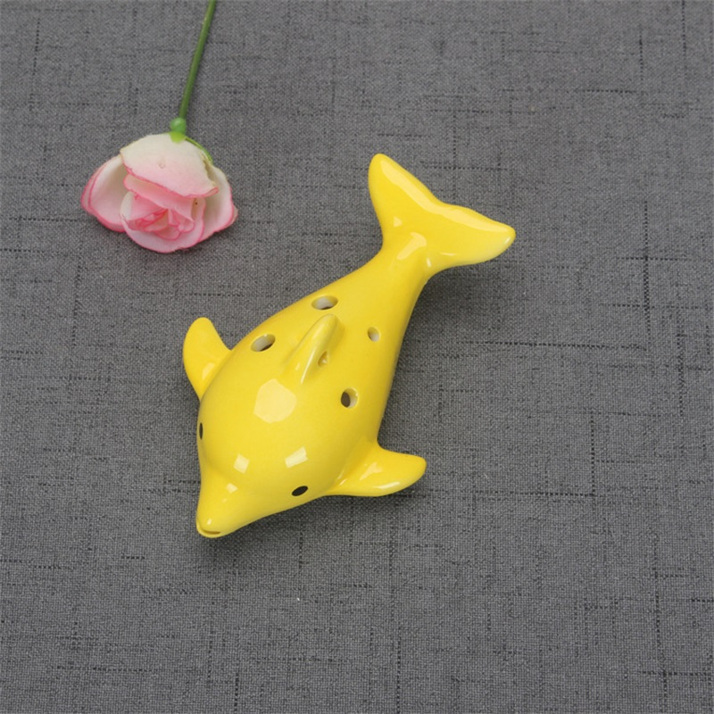 Cute 6 Hole Ceramic Dolphin Ocarina Educational Toy Musical Instrument Animal Shape Educational Music Flute Charm 6 5yx Z