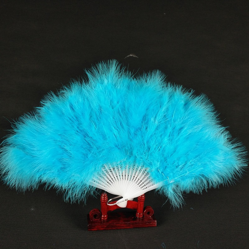 12 Inches 21 Pieces Plastic Bone Feather Fan Folding Handheld Feather Fan Flapper Accessories For Weddings Stage Multi-color Selects