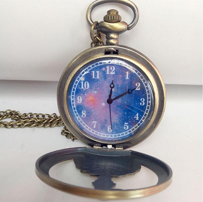 Wholesale Quartz watches Chain Bronze Retro hollowed out little prince`s big pocket watch pocket watches PW009